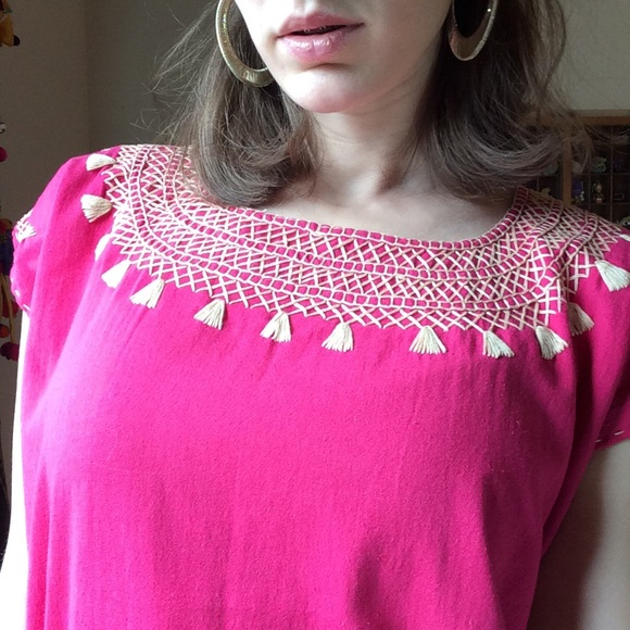 Anthropologie Tops - Tribal Tassel Embroidered Fuscia Blouse